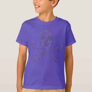 Zackiger Schädel u. gekreuzte Knochen - Farbe T-Shirt