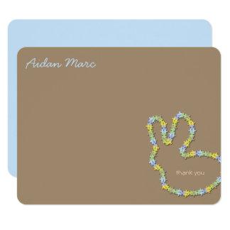 Zackiges Häschen-Blau dankt Ihnen Anmerkungs-Karte 10,8 X 14 Cm Einladungskarte