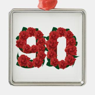 Zahl 90 oder 90.-Geburtstags-Rote Rosen Silbernes Ornament