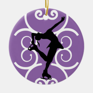 Zahl die Skater-Verzierung - lila - Rundes Keramik Ornament