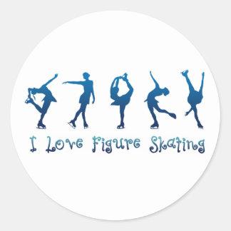 Zahl Skaten Blau der Liebe I Runder Aufkleber