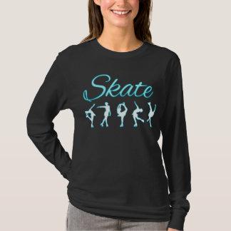Zahl Skater-blaues Glühen T-Shirt