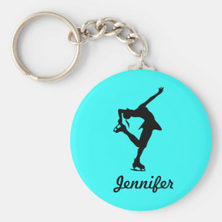 Zahl Skater-Mädchen u. Namensschlüsselkette (Aqua) Standard Runder Schlüsselanhänger
