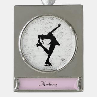 Zahl Skater-Verzierung - Personalisiertes Silber Banner-Ornament Silber