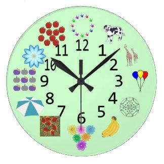 Zählung Zählung die Einzelteil-Uhren mit Zahlen Große Wanduhr