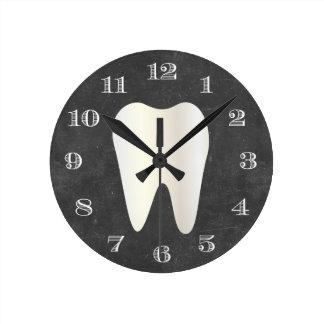 Zahnarzt-Büro-Zahnpflege-weiße Zahn-Tafel Runde Wanduhr