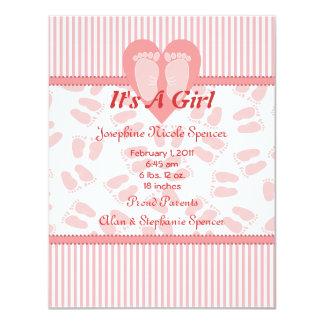 Zarte Füße Baby-Geburts-Mitteilungs- 10,8 X 14 Cm Einladungskarte