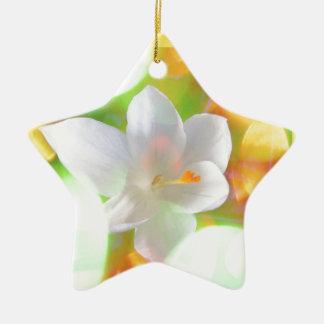 Zarter Blüten Traum Keramik Stern-Ornament