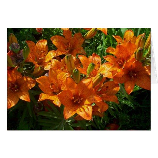 Zazzle orange leeres Mit Blumennotecard Mitteilungskarte