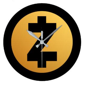 Zcash (ZEC) Münzen-Schlüsseluhr Große Wanduhr