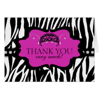 Zebra Bachelorette Tiara danken Ihnen Karte