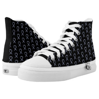 Zebra-Bewusstseins-Band-kundenspezifische Hoch-geschnittene Sneaker