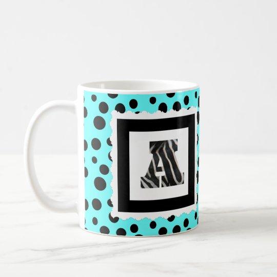 """Zebra-Druck-Buchstabe """"A"""" auf Aqua/schwarzen Kaffeetasse"""