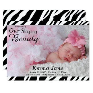 Zebra-Druck-Foto - Mitteilung der Geburts-3x5 Karte