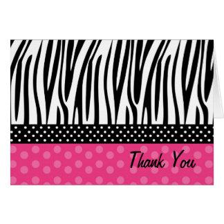 Zebra-Druck-heißes Rosa-Punkte danken Ihnen Karte