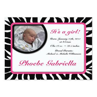 Zebra-Druck-Rosa-Geburts-Mitteilungen 12,7 X 17,8 Cm Einladungskarte