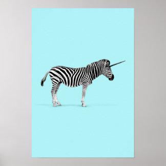 Zebra-Einhorn Poster