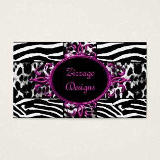 Zebra-heißes Rosa-Schwarz-weißer Visitenkarte