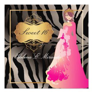 ZEBRA-IMITAT SILVER/Sweet 16/Quinceañera Quadratische 13,3 Cm Einladungskarte