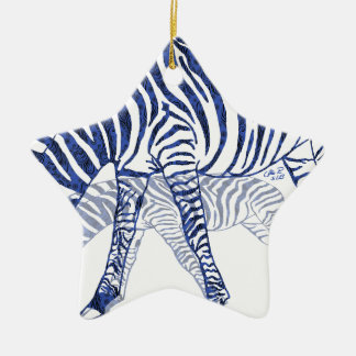 Zebra in Blau Keramik Ornament