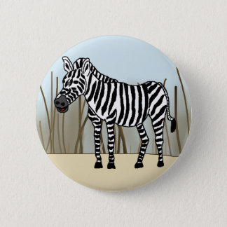 Zebra in der Savanne Runder Button 5,7 Cm