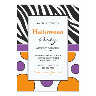 Zebra-Polka-Punkt-Halloween-Party-Einladungen Karte