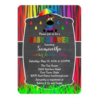 Zebra-Regenbogen-Babyparty-Einladung Karte