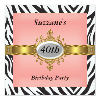 Zebra-rosa Geburtstags-Party Einladung