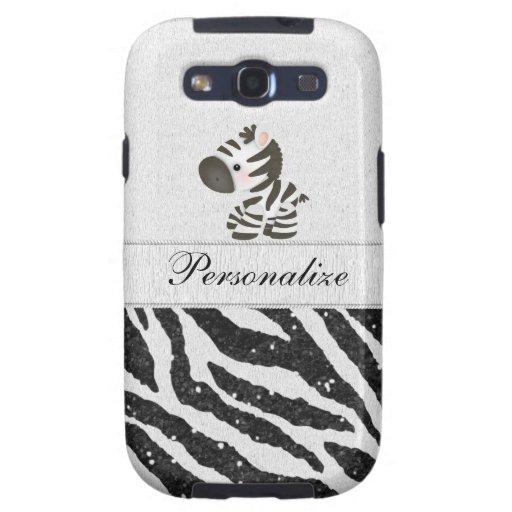 Zebra, schwarzer Imitat-Glitter u. Druckbänder Samsung Galaxy S3 Etuis