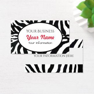 Zebra-Schwarzweiss-Tierdruck-Visitenkarte Visitenkarte
