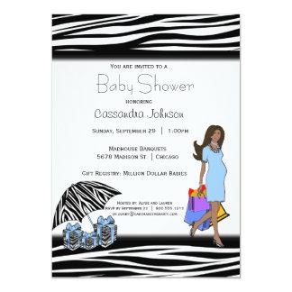 Zebra-Streifen und blaue Afroamerikaner-Mama 12,7 X 17,8 Cm Einladungskarte