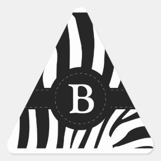 Zebra stripes Anfangsb Gewohnheit des Monogramms Dreiecks-Aufkleber