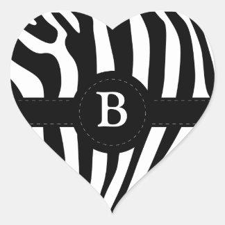 Zebra stripes Anfangsb Gewohnheit des Monogramms Herz Sticker