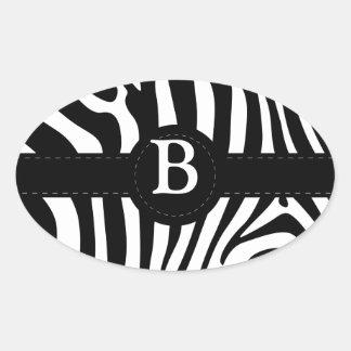 Zebra stripes Anfangsb Gewohnheit des Monogramms Ovaler Aufkleber