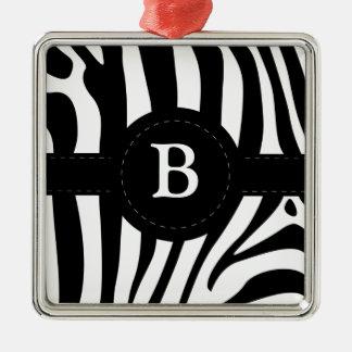 Zebra stripes Anfangsb Gewohnheit des Monogramms Quadratisches Silberfarbenes Ornament
