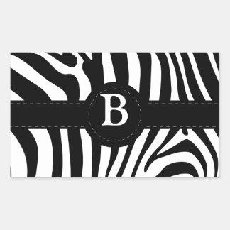 Zebra stripes Anfangsb Gewohnheit des Monogramms Rechteckiger Aufkleber