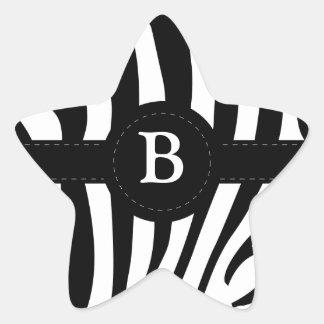 Zebra stripes Anfangsb Gewohnheit des Monogramms Stern-Aufkleber