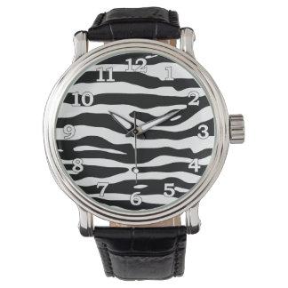 Zebra-Tierdruck-Schwarz-weißes Streifen-Muster Uhr