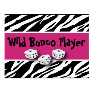 Zebra-Tierdruck wilder Bunco Spieler Postkarte