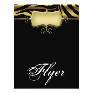 Zebra-TierFlyer-Salon-Wellness-Center-Goldschwarze 21,6 X 27,9 Cm Flyer