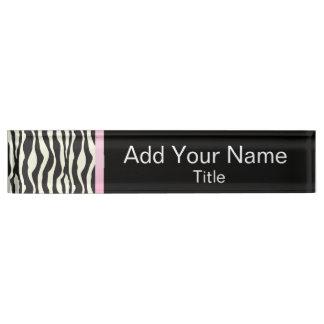 Zebra-Tierstreifen mit rosa Bar | fertigen Namensplakette