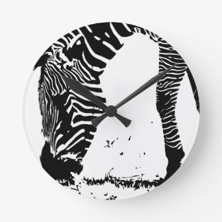 Zebra weidet runde wanduhr