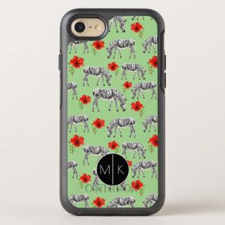 Zebras unter Monogramm der Hibiskus-Blumen-  OtterBox Symmetry iPhone 8/7 Hülle