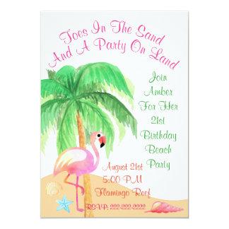 Zehen in der Sand-Flamingo-Party Einladung