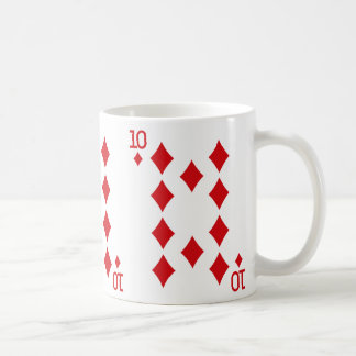 Zehn der Diamant-Spielkarte Kaffeetasse