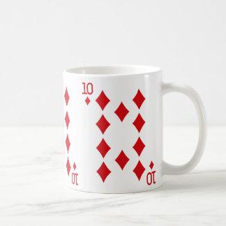 Zehn der Diamant-Spielkarte Tasse