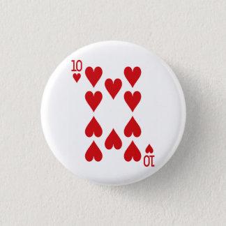 Zehn der Herz-Spielkarte Runder Button 2,5 Cm
