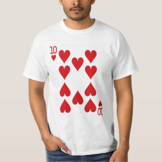 Zehn der Herz-Spielkarte T-Shirt