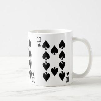 Zehn der Spaten-Spielkarte Kaffeetasse
