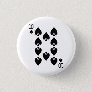 Zehn der Spaten-Spielkarte Runder Button 3,2 Cm